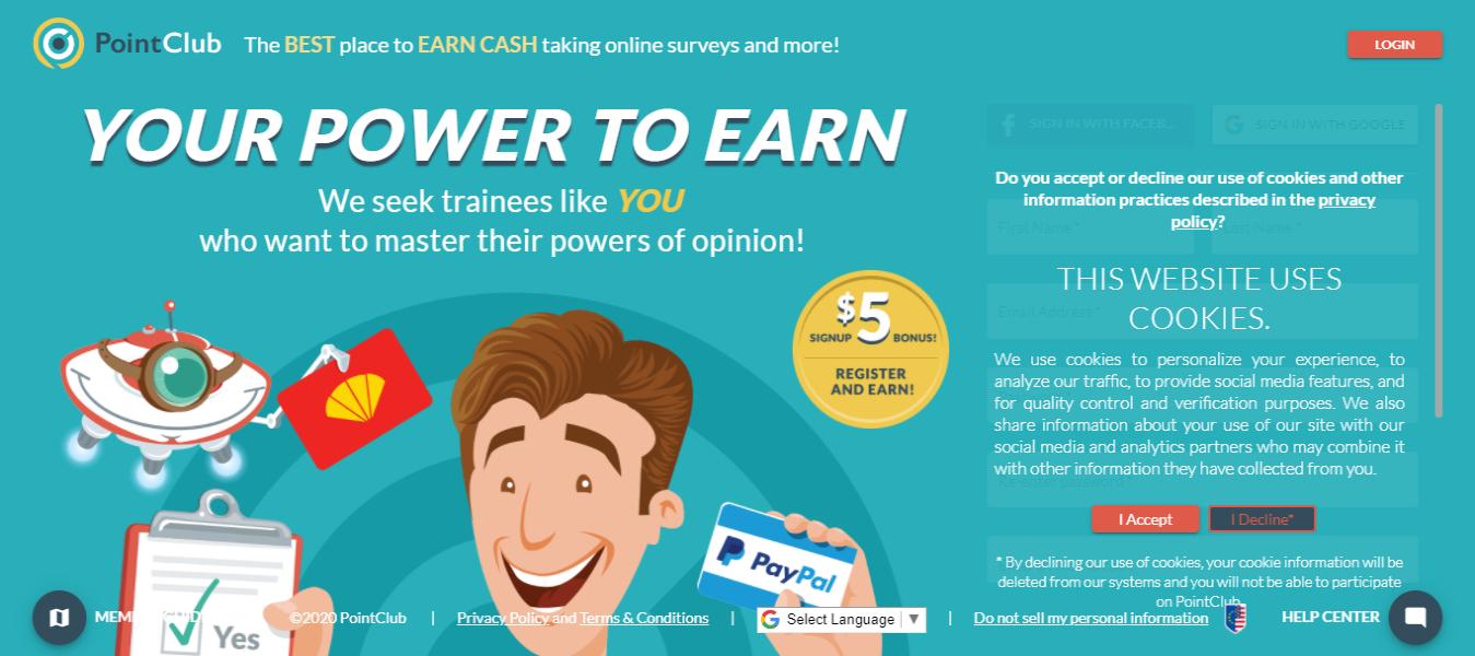 Legitimate online paid survey sites-Point Club